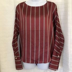 Express Striped Boat Neck Drop Sleeve Blouse